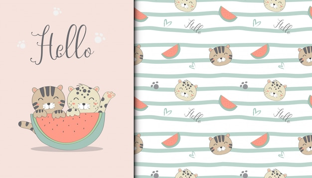 Illustration of cute cat and watermelon and repeat pattern in the white