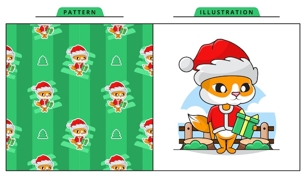 Illustration of cute cat wearing santa claus costume with decorative seamless pattern
