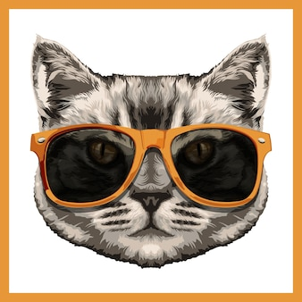 Illustration of a cute cat in yellow shades.