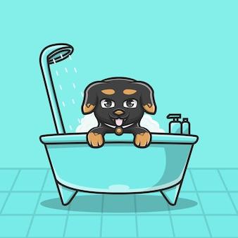 Illustration cute character bath dog