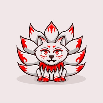 Иллюстрация милый персонаж кицунэ девять сказка