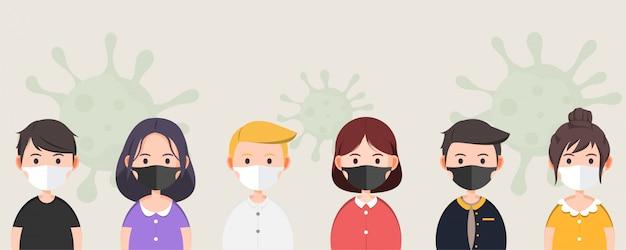 イラストかわいいキャラクターが医療マスクを着用してコロナウイルス、covid-19から身を守る