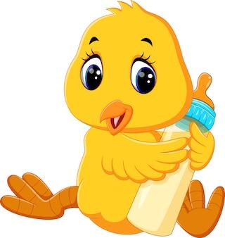 Illustration of cute chicken holding milk bottle