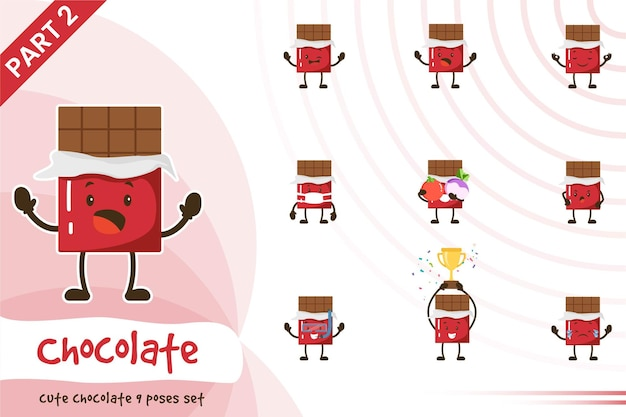 Illustration of cute chocolate poses set.