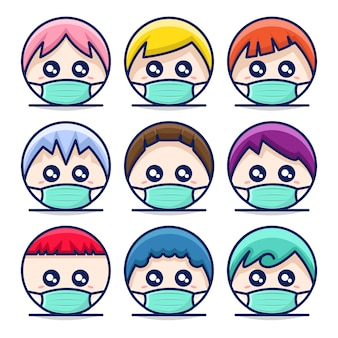 Illustration of cute circle head mascot icon with mask and different hair style