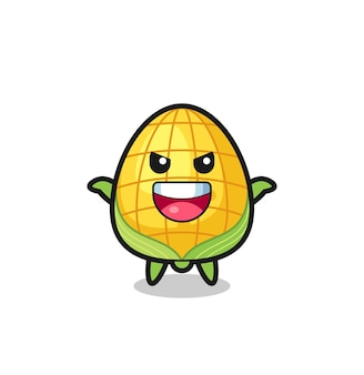 The illustration of cute corn doing scare gesture , cute style design for t shirt, sticker, logo element