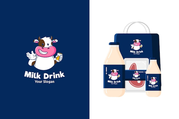 Illustration of cute cow mascot logo   for dairy products or beef