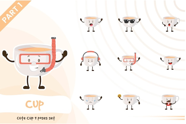 Illustration of cute cup set