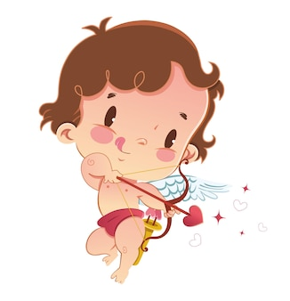 Illustration of a cute cupid valentine's day