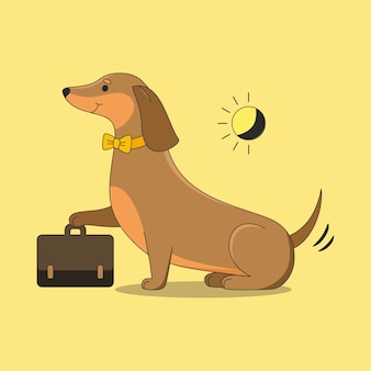Illustration cute dachshund with briefcase