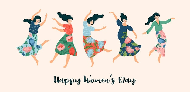 Illustration of cute dancing women. international women s day concept