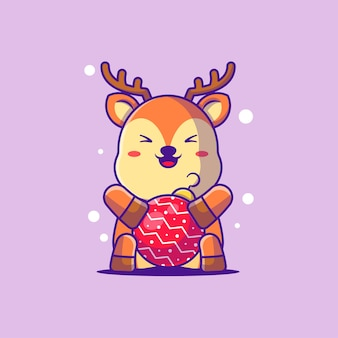 Illustration of a cute deer with christmas baubles. merry christmas