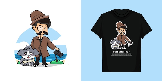 Illustration of cute detective boy character with t-shirt   design