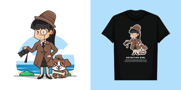 Illustration of cute detective girl character with t-shirt   design