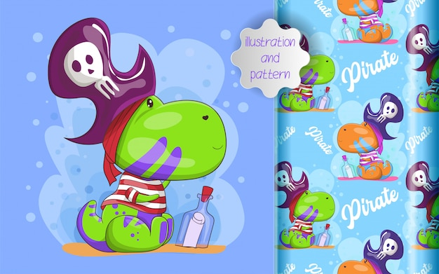 Illustration of cute dino pirate and pattern