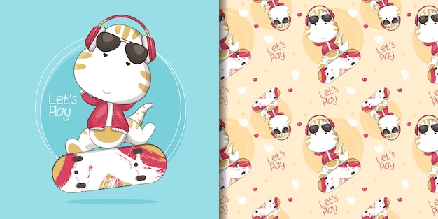 Illustration of cute dino skater and pattern
