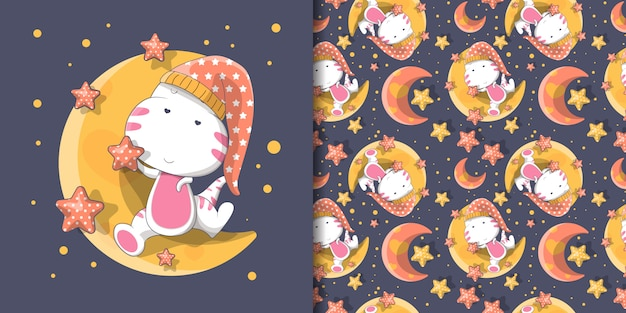 Illustration of cute dino with moon and pattern