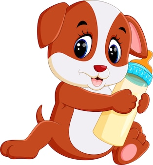 Illustration of cute dog holding milk bottle