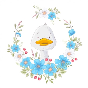 Illustration of a cute duckling in a wreath of flowers. hand drawing