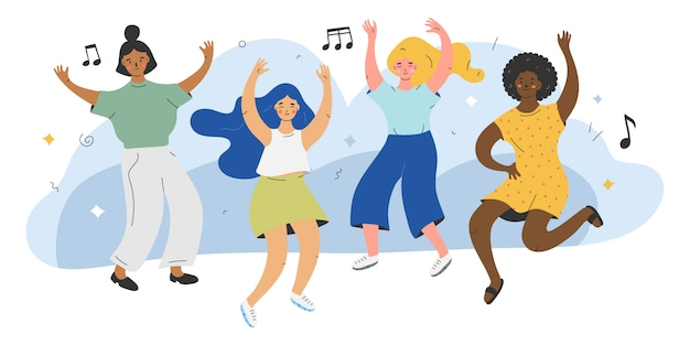 Illustration of cute female characters dancing to the music