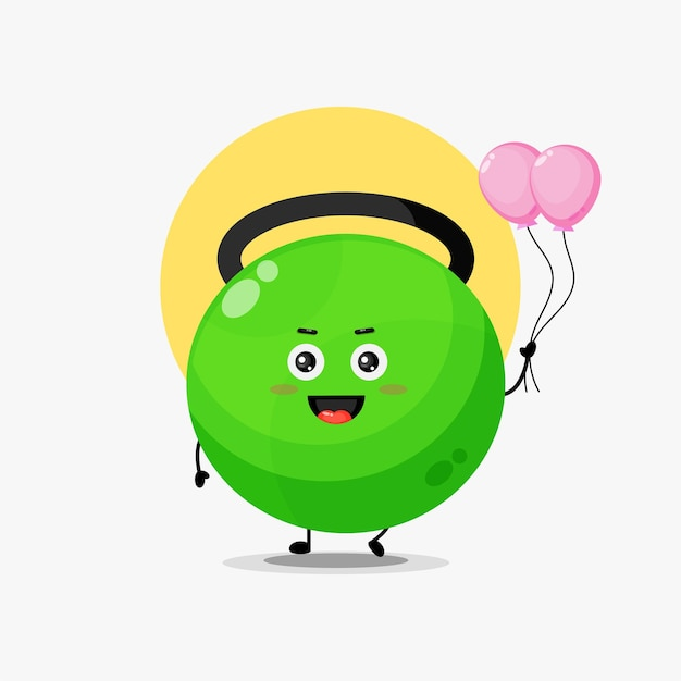 Illustration of cute fitness kettlebell character carrying balloon