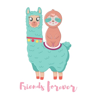 Illustration of cute fluffy cartoon llama and sloth