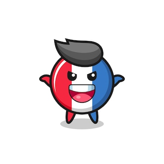 The illustration of cute france flag badge doing scare gesture , cute style design for t shirt, sticker, logo element