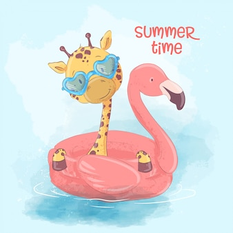 Illustration of a cute giraffe on an inflatable circle in the form of a flamingos