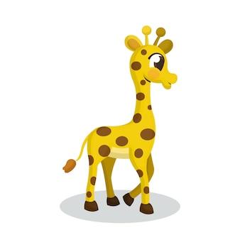 Illustration of cute giraffe with cartoon style