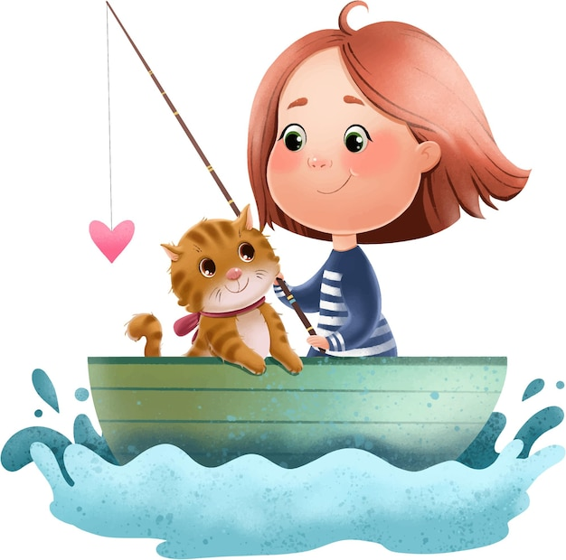 Illustration of a cute girl and a cat in a boat with a fishing rod and a heart.