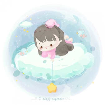 Illustration of cute girl on a cloud