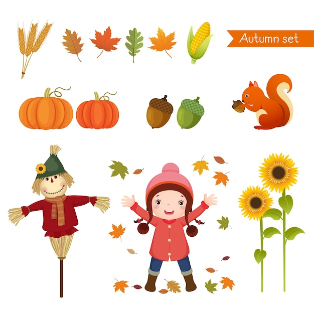 Illustration of cute girl and collection for autumn