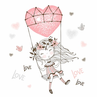 Illustration of cute girl flying on a balloon in the form of a heart.