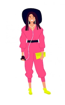 Illustration of a cute girl in a hat and a pink jumpsuit.