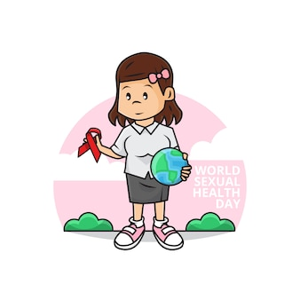 Illustration of cute girl holding earth globe and ribbon as symbol of aids awareness with world sexual health day campaign