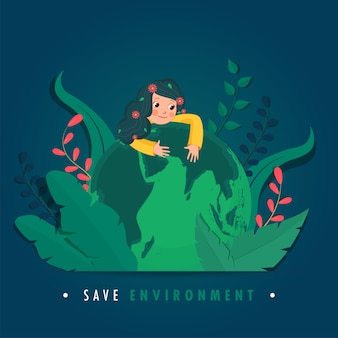 Illustration of cute girl hugging earth globe with paper cut leaves on blue background for save environment concept.