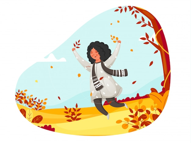 Illustration of cute girl jumping on abstract autumn nature background.