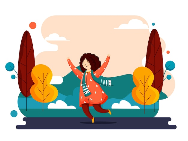 Illustration of cute girl jumping on abstract nature view background.