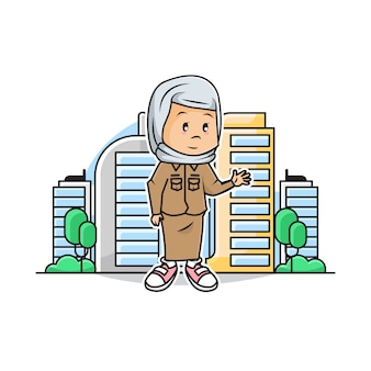 Illustration of cute girl muslim governor with city scape background