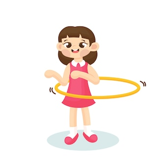 Illustration of cute girl playing hula hoop with happy face