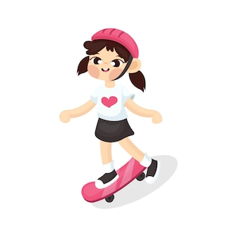 Illustration of cute girl playing skate board with cartoon style