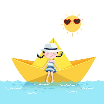 Illustration of cute girl relaxing in a paper boat. summer vacation concept