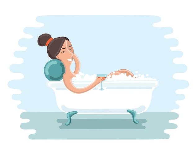 Illustration of cute girl take a bath