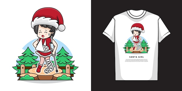 Illustration of cute girl wearing santa claus costume with a gesture of fracture arm and leg with t-shirt  design