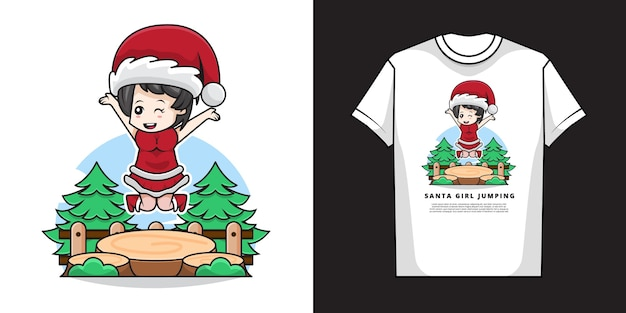 Illustration of cute girl wearing santa claus costume with t-shirt   design