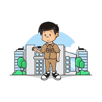 Illustration of cute governor with city scape background