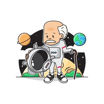 Illustration of cute grandpa wearing astronaut costume in the space..