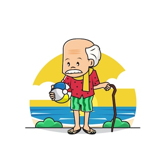Illustration of cute grandpa wearing swimsuit at the beach
