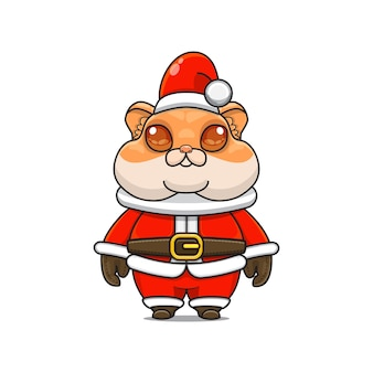 Illustration of cute hamster mascot with santa claus costume for christmas