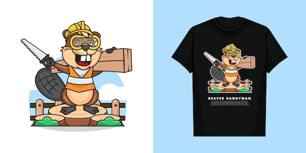 Illustration of cute handyman beaver is lifting a piece of wood and holding the saw with t-shirt design